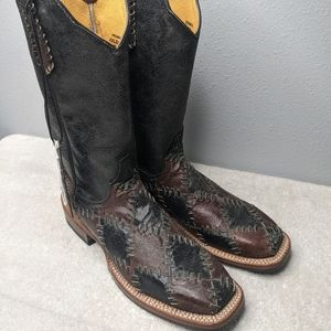 Cinch Black and Brown Patched Square Toe 6.5
